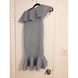 ASOS one shoulder polka dot dress